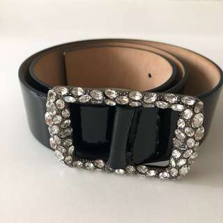 Valentino Swarovski Black Patent Leather Belt