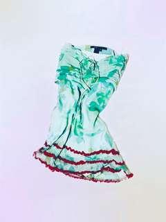 😍Babydoll Sweetheart Cut Dress - Chiffon and Satin Mini with Red Crepe Viscose Ruffle Trim