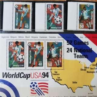 美國 1994 世界盃郵票 +小全張 (可包郵)