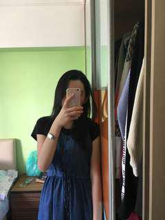 Long dress denim pinafore