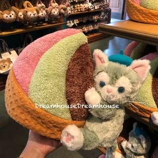東京迪士尼 畫家貓 冰淇淋 抱枕 玩偶 娃娃