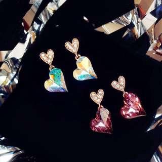 [Kai] 蝶蝶飾品 925銀針滿鑽愛心幻彩水晶心形吊墜可愛百搭耳釘耳環