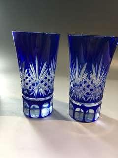 藝術玻璃酒杯二個套裝連盒