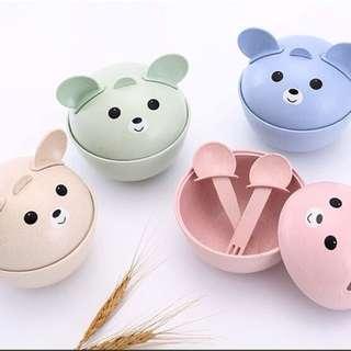 小麦秸秆熊猫儿童餐具