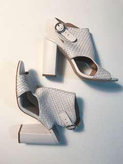 White Leather Gladiator Heels