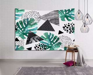 幾何樹葉掛布 背景布