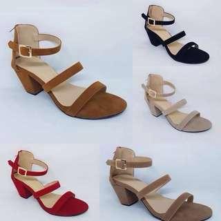 Two-strap Suede Block Heels