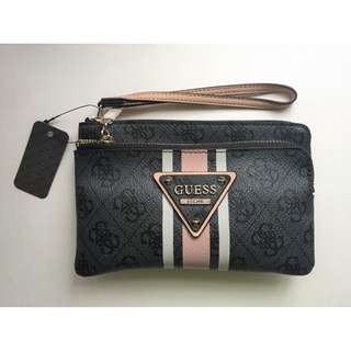 Black and Pink Guess Wristlet