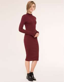 Pull & Bear Turtleneck Long Sleeve Dress