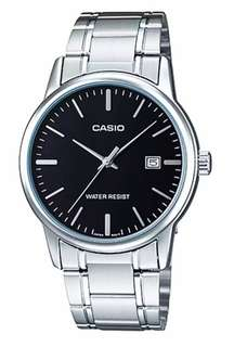 Jam Tangan Pria Casio Analog MTP-V002D-1A Silver Stainless Steel Band