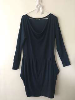 Navy Blue Long Sleeve Dress 002
