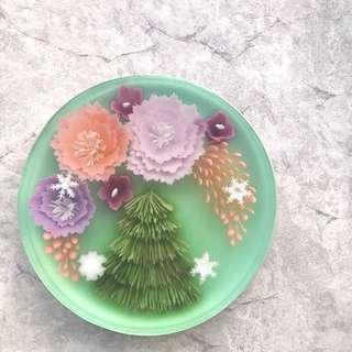 3D flowers jelly cake
