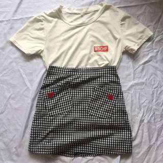 Statement Tee + Heart Grid Skirt