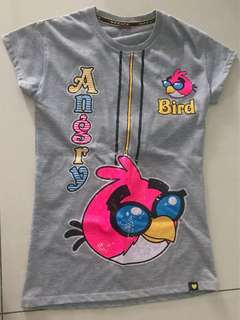 angry birds grey T-shirt