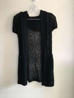 REPRICED!!! Black Knit Cardigan with Hood Small