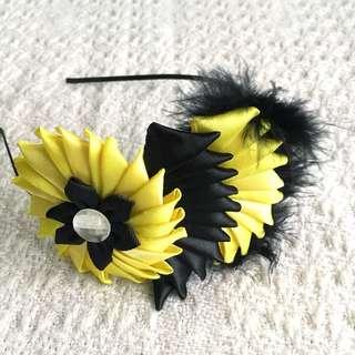 Girls' Yellow / Black Ribbon Flower Hairband (3-9 years old)