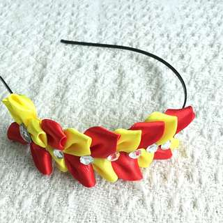 Girls' Yellow / Red Ribbon Hairband (3-9 years old)