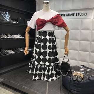 Big Ribbon Tshirt Polkadot High Waist Maxi Skirt Set Wear