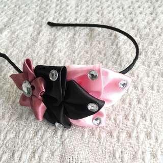 Girls' Pink / Black Ribbon Hairband (3-9 years old)