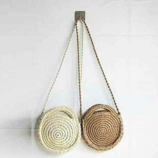 Rattan round bag