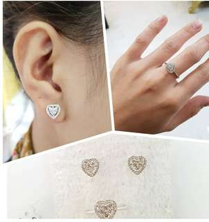 18K Hongkong Setting Ring & Earring Set ❤BIG SALE P55k ONLY❤ Diamonds 0.63ct Ring size 6 1/4 Swipe for detailed pics Cash/card/layaway accepted