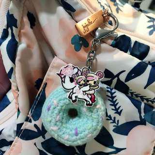 Tokidoki crochet donut keychain