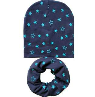 "🚚 ""Full of stars"" baby scarf and cap set"