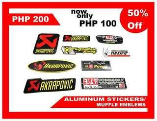 Muffler emblem aluminum sticker