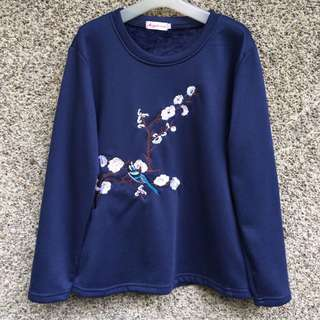 Navy Blue Embroidered Sweater