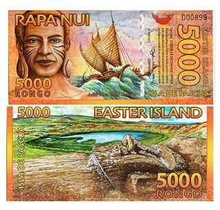 2011年 大洋洲 復活節島 5000元 塑膠鈔 全新直版