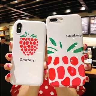 (W)手機殼IPhone6/7/8/plus/X : 創意韓風草莓全包邊軟殼