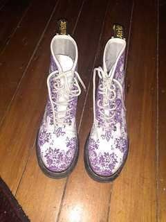 Dr Martens Purple & White Boots