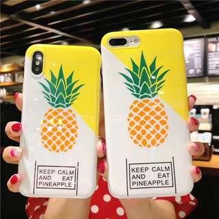 (W)手機殼IPhone6/7/8/plus/X : 創意幾何菠蘿全包邊軟殼