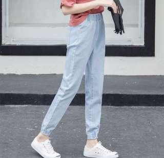 🚚 淺藍鬆緊牛仔長褲