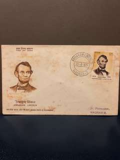 Clearing Stocks: Madras 1965 Abraham Lincoln First Day Cover, usual toned
