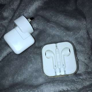 Genuine Apple Earphones Apple 5w USB power adapter
