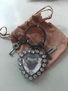 100% new MIU MIU heart shaped key ring