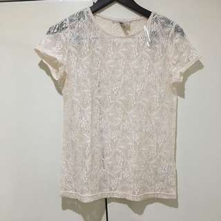H&M baby pink lace top