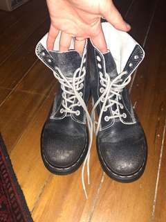 Dr Martens Black and White Boots