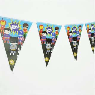💥 Cartoon Superheroes party supplies - party banner / bunting / party deco