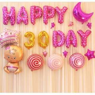 🚚 (In Stock)Baby Girl Full Month Party Decoration Set-Happy 30 Days