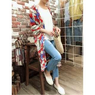 棉麻料花罩衫(紅花、綠花兩色)