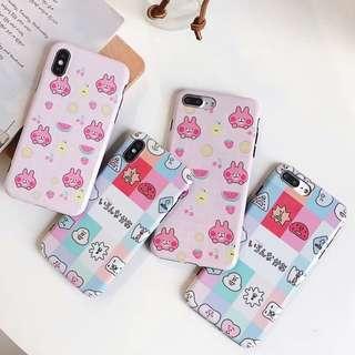 (W)手機殼IPhone6/7/8/plus/X : 趣味日系兔子全包黑邊軟殼