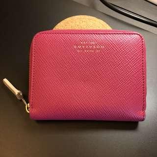 Smythson pink leather zipper short wallet