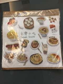 台灣小吃印花萬用布