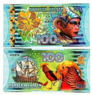 2016年 荷蘭東印度 100盾 塑膠商業紀念鈔 全新直版