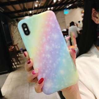 (W)手機殼IPhone6/7/8/plus/X : 漸變彩虹全包邊軟殼
