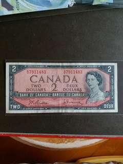 加拿大纸幣 1954年 2元 VF