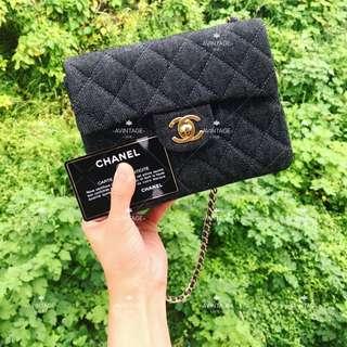 (SOLD)Chanel Vintage 黑色牛仔 Mini Flap 18cm