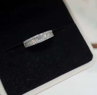 (Unused) Half eternity diamond ring with round & baguettes diamonds